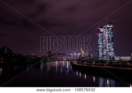 European central bank in Frankfurt am Main at night