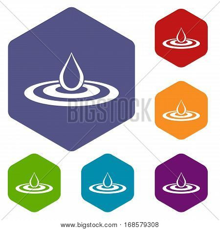 Water drop and spill icons set rhombus in different colors isolated on white background