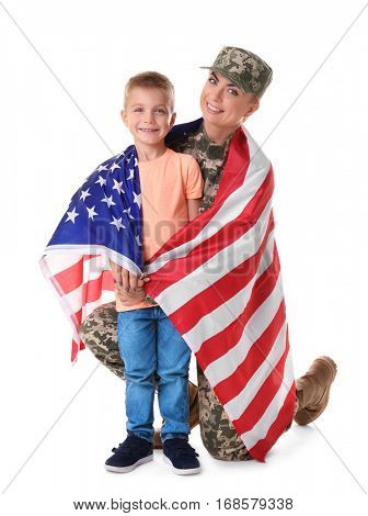 Woman soldier and little kid with American national flag on white background