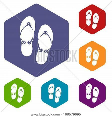 Flip flop sandals icons set rhombus in different colors isolated on white background