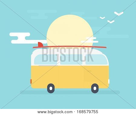 van with surfboard