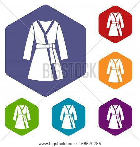 Bathrobe icons set rhombus in different colors isolated on white background