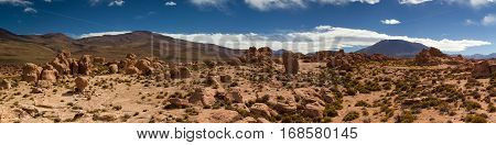 Panorama of lava flows in the Atacama desert Altiplano Bolivia