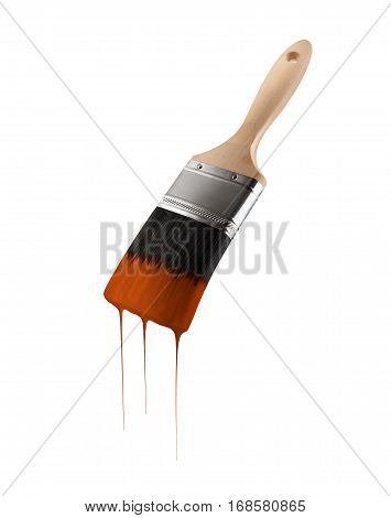 Paintbrush loaded with brown color dripping off the bristles. Isolated on white background.