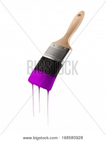Paintbrush loaded with purple color dripping off the bristles. Isolated on white background.