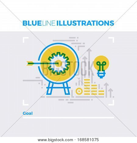 Goal Aim Blue Line Illustration.