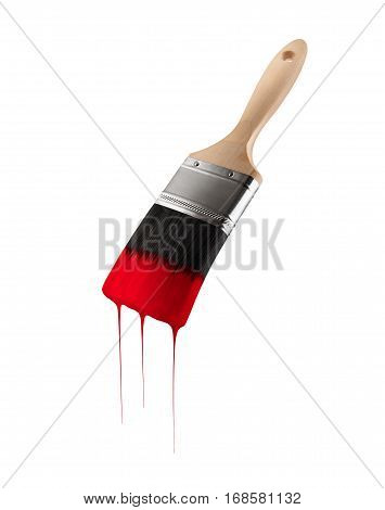Paintbrush loaded with red color dripping off the bristles. Isolated on white background.