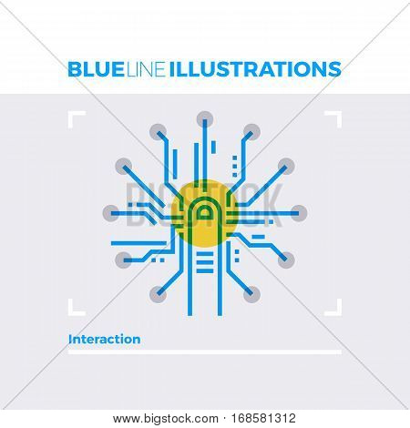 Interaction Design Blue Line Illustration.