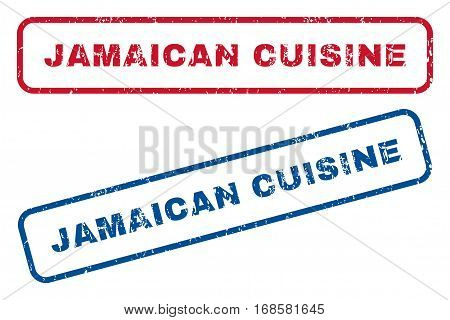 Jamaican Cuisine text rubber seal stamp watermarks. Vector style is blue and red ink tag inside rounded rectangular banner. Grunge design and unclean texture. Blue and red emblems.
