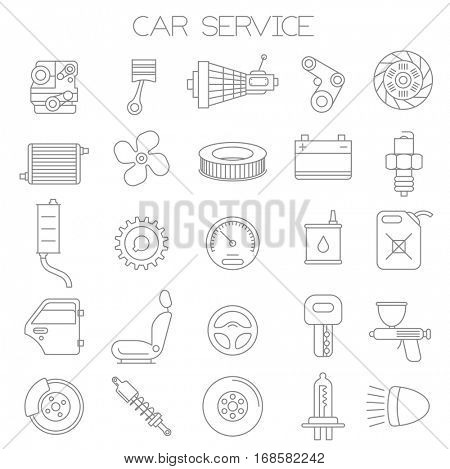 Thin line flat design car service and pars  vector icon set.