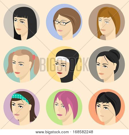 Flat design vector girls avatar icon set for various nationality, profession and religion.