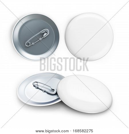 white badge 3d Illustrations on a white background