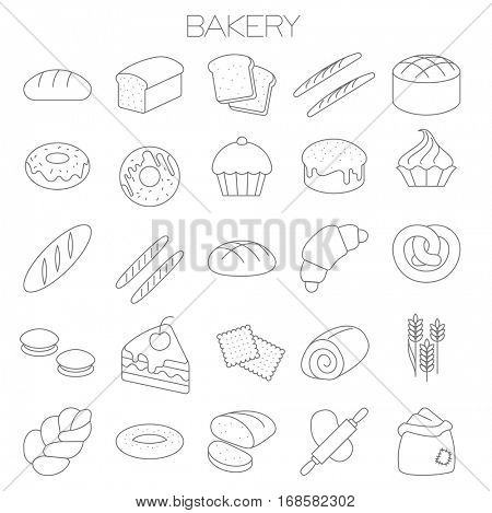 Thin line flat design bakery menu vector icon set.