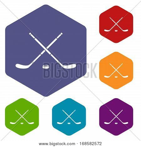 Hockey icons set rhombus in different colors isolated on white background