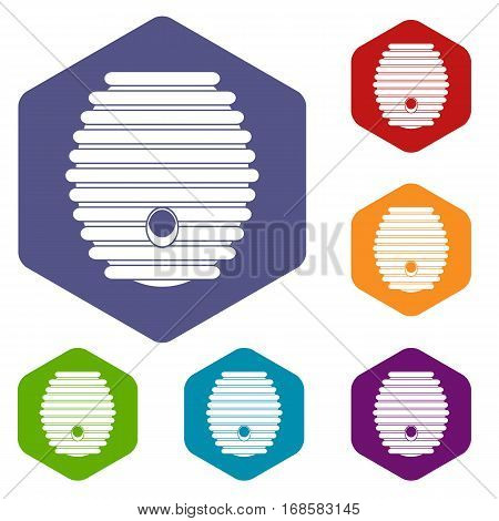 Beehive icons set rhombus in different colors isolated on white background
