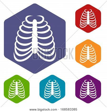 Rib cage icons set rhombus in different colors isolated on white background