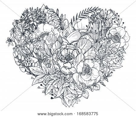 Floral heart. Bouquet composition with hand drawn flowers and plants. Monochrome vector romantic love illustration in sketch style. Valentine Day card