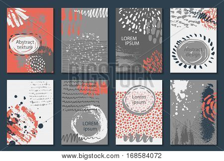 Set of eight cards with hand drawn abstract ink texture. Templates for flyers, invitations, banners with text frames. Red, white and grey vector collection.