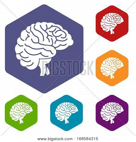 Brain icons set rhombus in different colors isolated on white background