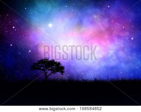 3D render of a silhouetted tree landscape against a nebula night sky
