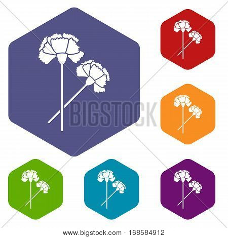 Carnation icons set rhombus in different colors isolated on white background