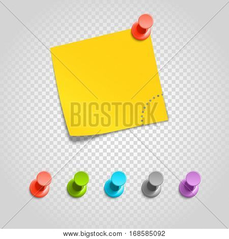 Color pins and paperclip isolated on transparent.