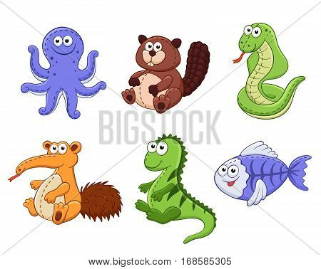 Cute cartoon animals isolated on white background. Stuffed toys set. Vector illustration of adorable plush baby animals. X-ray fish beaver snake iguana numbut octopus.