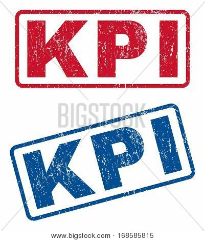 Kpi text rubber seal stamp watermarks. Vector style is blue and red ink caption inside rounded rectangular shape. Grunge design and scratched texture. Blue and red emblems.