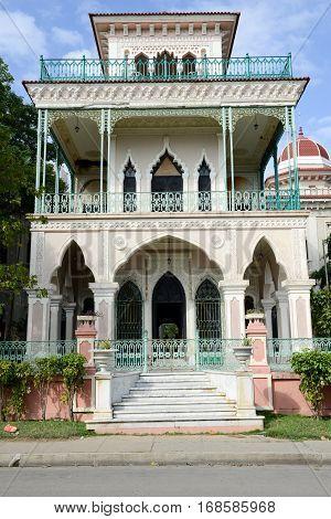Cienfuegos Cuba - 18 january 2016: Valle Palace at Cienfuegos on Cuba