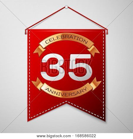 Red pennant with inscription Thirty five Years Anniversary Celebration Design over a grey background. Golden ribbon. Colorful template elements for your birthday party. Vector illustration