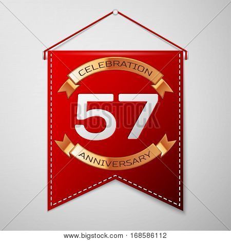 Red pennant with inscription Fifty seven Years Anniversary Celebration Design over a grey background. Golden ribbon. Colorful template elements for your birthday party. Vector illustration