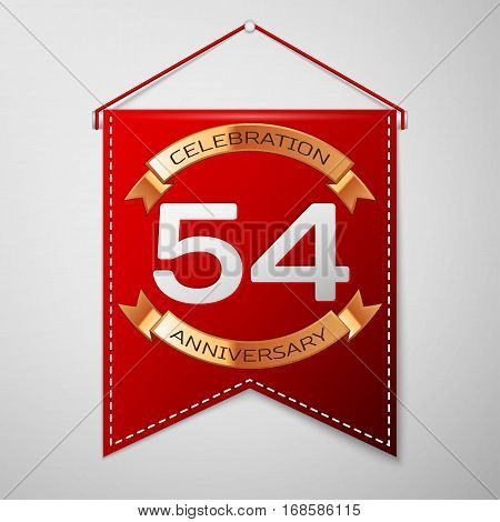 Red pennant with inscription Fifty four Years Anniversary Celebration Design over a grey background. Golden ribbon. Colorful template elements for your birthday party. Vector illustration