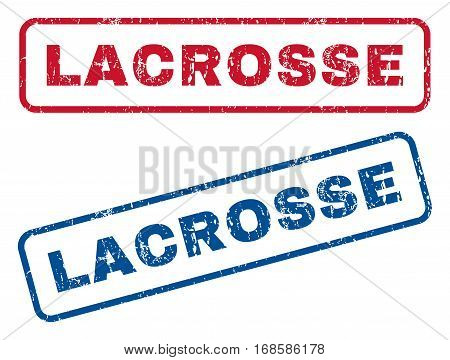 Lacrosse text rubber seal stamp watermarks. Vector style is blue and red ink caption inside rounded rectangular shape. Grunge design and unclean texture. Blue and red signs.