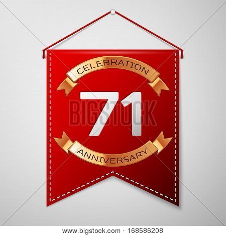 Red pennant with inscription Seventy one Years Anniversary Celebration Design over a grey background. Golden ribbon. Colorful template elements for your birthday party. Vector illustration