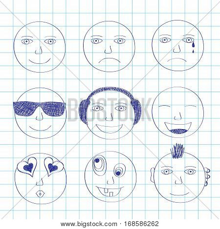 Set of smiles drawn with a pen on a writingbook leaf