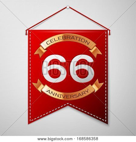 Red pennant with inscription Sixty six Years Anniversary Celebration Design over a grey background. Golden ribbon. Colorful template elements for your birthday party. Vector illustration