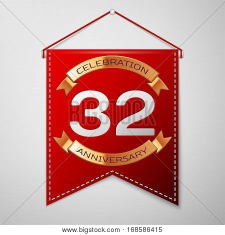 Red pennant with inscription Thirty two Years Anniversary Celebration Design over a grey background. Golden ribbon. Colorful template elements for your birthday party. Vector illustration