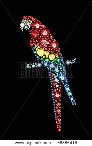 Parrot made of vector colored gems on black