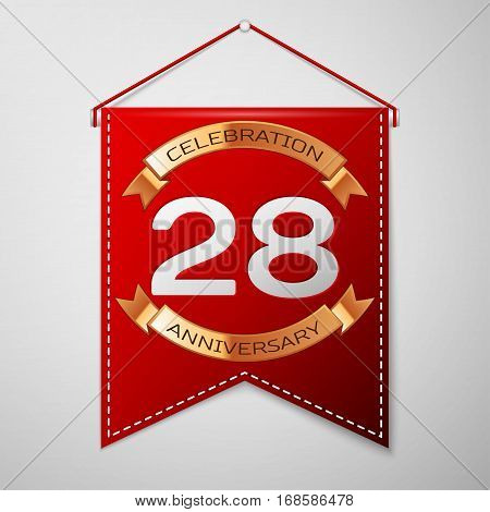 Red pennant with inscription Twenty eight Years Anniversary Celebration Design over a grey background. Golden ribbon. Colorful template elements for your birthday party. Vector illustration