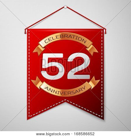 Red pennant with inscription Fifty two Years Anniversary Celebration Design over a grey background. Golden ribbon. Colorful template elements for your birthday party. Vector illustration