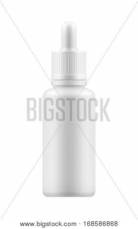 Vector realistic blank template of plastic bottle with dropper for organic aromatic essential oil. Mock-up of package. Empty and clean 3d white plastic container for liquid, essence.