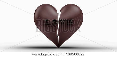 broken Heart 3d rendering chocolate heart and letter LOVE is broken on isolated white background