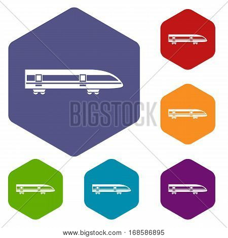 Modern high speed train icons set rhombus in different colors isolated on white background