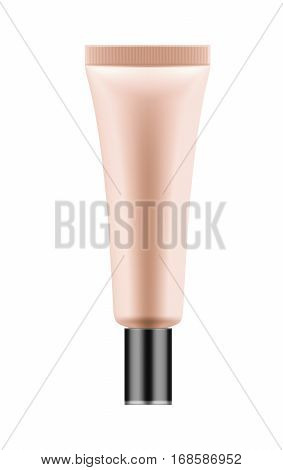 3D package for BB cream. Realistic tube for makeup foundation for skin. Cosmetic product for skin. Blank template of container for cosmetic product. Vector illustration isolated on white background.