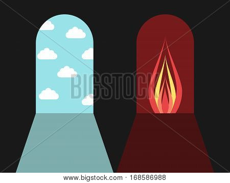 Doors leading to blue sky with clouds and red darkness with fire. Hell and heaven sin and death concept. Flat design. Vector illustration. EPS 8 no transparency