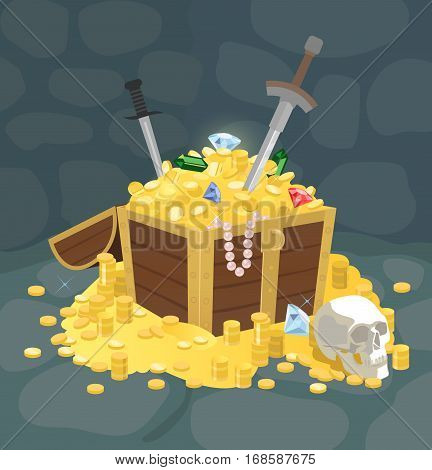 Vector illustration of an open treasure chest full of gold