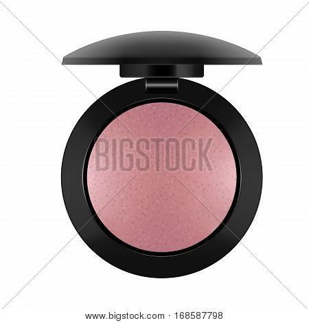 3d realistic of powder-case. Beige powder for makeup in black round plastic case. Cosmetic for make-up and beauty. Vector illustration isolated on white background.