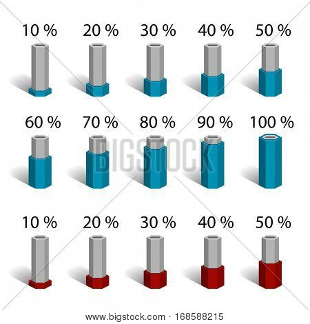 hexagonal bar percentage chart graph diagram vector