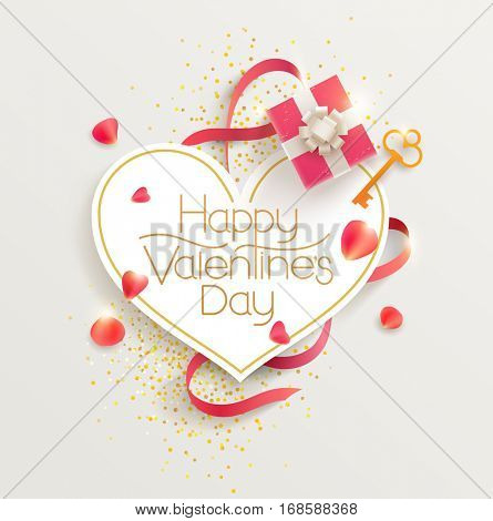 Romantic valentine's day. Greeting card with gift and rose petals.