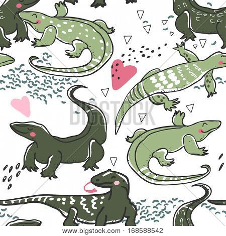 seamless pattern of monitor lizards in love